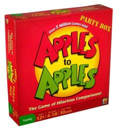 Apples to Apples Party Box - The Game of Hilarious Comparisons (Family Edition) by Mattel, http://www.amazon.com/dp/B00112CHCK/ref=cm_sw_r_pi_dp_PFr6pb1NEJK2T