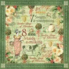 """The front page of """"Swans a Swimming"""" from our new collection, The Twelve Days of Christmas! #graphic45 #christmas #sneakpeeks"""