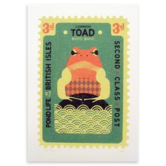 Awesome Vintage Inspired Toad Print by Tom Frost