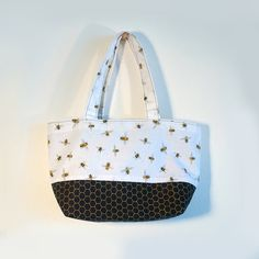 Pollination (Queen) -  Bee Mini Tote /coordinated bees and honeycomb