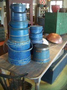 Stack of blue Firkins
