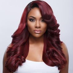 Dark Red Two Tone Weave Hairstyle Good Hair Black Beauty African American Women