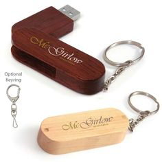 Promotional Products Idea Catalog | 16 GB Bamboo Bullet Keyring USB 2.0 Flash Drive