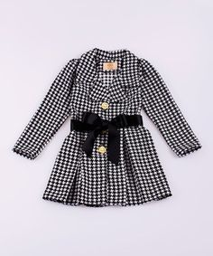 Loving this Mia Belle Baby Black & White Houndstooth Pleated Jacket - Toddler & Girls on #zulily! #zulilyfinds
