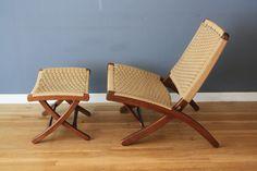 Danish Modern Folding Lounge Chair and Ottoman