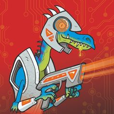 Oh just a Velociraptor from the future shooting a laser blaster. Sneak peek at the cover for DINO WARS book one. New series from Maverick Books coming soon. - - - #dinovember #dinosaur #velociraptor #illustration #kidlitart #lasers #palaeontology #cartoon #coverart #dinosaurs #bookillustration #future #dinovember2017