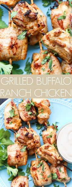Wonderful recipe for Grilled Buffalo Ranch Chicken Kabobs. The marinade penetrated deep into the chicken thighs resulting in wonderful grilled chicken, Chicken Kabob Marinade, Grilled Chicken Kabobs, Grilled Chicken Recipes, Grilled Meat, Buffalo Ranch Chicken, Grilled Buffalo Chicken, Grilling Recipes, Cooking Recipes, Healthy Recipes