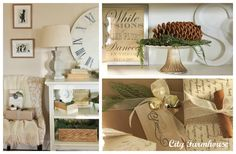 Holiday sayings printed in decorative fonts and framed for display.  Nature-inspired gift wrap.