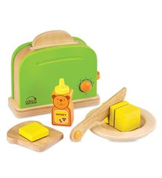 Durable Wooden Toaster with 4 Fun Accessories