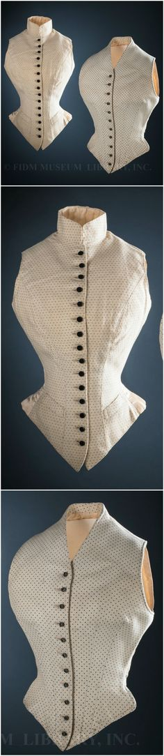 "Waistcoats made for Alexandra, Princess of Wales, by J. Busvine & Co., London, 1890s. Helen Larson Historic Fashion Collection. Via FIDM Museum Blog. FIDM Museum: ""Though masculine in style, the hourglass shape of these dotted wool waistcoats could only have been achieved by a corset—probably a lightly-boned version designed for horseback riding... women typically wore sturdy, masculine-style clothing for the energetic sports of riding and hunting, though they always rode sidesaddle, in…"