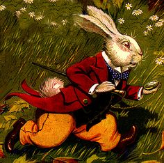 Vintage Alice in Wonderland Illustration, White Rabbit Racing ~ Milo Winter