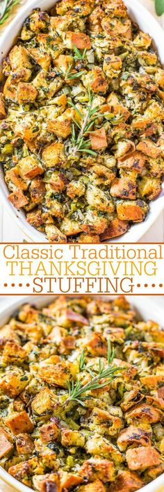Classic Traditional Thanksgiving Stuffing Recipe   Averie Cooks - The BEST Classic, Improved and Traditional Thanksgiving Dinner Menu Favorites Recipes - Main Dishes, Side Dishes, Appetizers, Salads, Yummy Desserts and more!