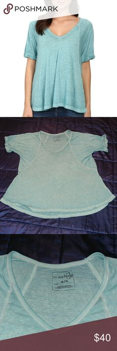 Free People Free Fallin' tee Dusty Jade M oversize We the Free super soft burnout tee, oversized fit (tag size M but can fit up to an XL.) Color is Dusty jade which is a pretty light greenish blue. Worn twice & washed cold, delicate cycle, hung to dry. Some very minimal pilling but otherwise excellent condition. 1st & last pics are stock photos to show fit on models. Please note the inside fabric content tag has been removed since it showed through the sheer material. Free People Tops Tees…
