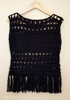 Triangles & Fringe Crochet Top Pattern - Hooked on Homemade Happiness