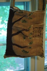 Directions for making a purse out of a burlap coffee bag.