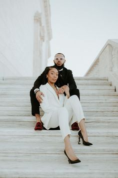 Women in suits for the win! We love this power couple's look for their winter engagement photos. | Image by Phylicia Willis