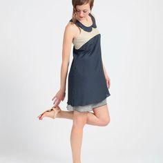 Zoom: Robe Bleu-Marine MADEVA - Paris - style Glamour