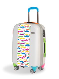 Travel luggage with funky mustaches