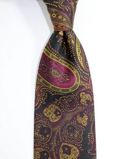 Clothes, Shoes & Accessories Genial Mens Blue And Yellow Floral Block Print Silk Tie