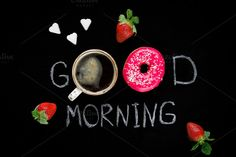 Donut, coffee and strawberries by The baking man on Creative Market