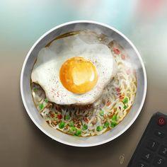 best looking bowl of ramen ever. illustration. fried egg.