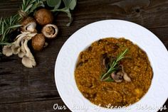 Mushroom Oat Risotto from Our Lady of Second Helpings Vegetarian Thanksgiving, Thanksgiving Recipes, Edible Mushrooms, Stuffed Mushrooms, Veg Recipes, Fall Recipes, Beans Vegetable, Savory Oatmeal, Mushroom Risotto