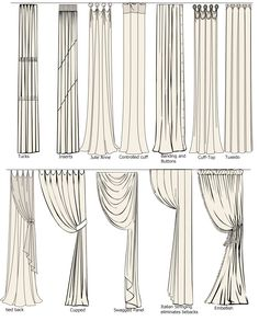 All sorts of different types of draperies and ways to hang them. Great for decorating the home.