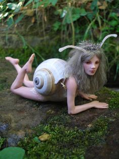 72 Nemora - Snail Girl - by Nenufar-Blanco on deviantART. Made without the use of molds. One of a kind.