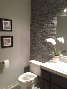 """The """"You'll Never Believe This Isn't Stacked Stone"""" Bathroom Makeover — Decorating Project Shower ideas bathroom, half bathroom ideas, small bathroom decor Bad Inspiration, Bathroom Inspiration, Bathroom Ideas, Bathroom Designs, Bathroom Organization, Modern Bathroom, Silver Bathroom, Glass Bathroom, Mint Bathroom"""