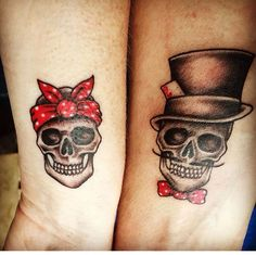 His and hers skull tattoos