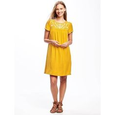 Old Navy Womens Embroidered Yoke Shift Dress (42 CAD) ❤ liked on Polyvore featuring dresses, yellow, old navy dresses, embroidered dress, white short sleeve dress, embroidery dress and short-sleeve dresses
