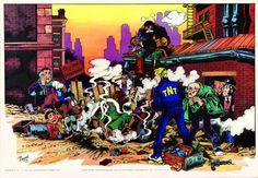 Magnus - Alan Ford - Poster Deflagrazione nella palestra d'ardimento del gruppo T.N.T. - Corno, poster n°20, 1974. Cm 50x35.