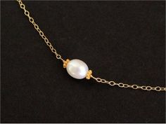 Pearl Choker Necklace, Gold-filled Chain, Sterling Silver Chain, White Rice Freshwater Pearl. June Birthstone. Bridal, Bridesmaid. N146.