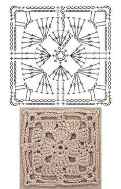 No.1 Framed Square Lace Crochet Motifs / 사각 프레임 모티브도안