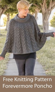Free Knitting Pattern Forevermore Poncho Lace poncho with cowl neck and sleeves. Sizes: S/M (L/XL 2XL/3XL). DK weight yarn. Designed by Che Lam for Annie's. Crochet Shrug Pattern, Poncho Knitting Patterns, Crochet Poncho, Knitting Ideas, Knitting Stitches, Lace Patterns, Crochet Patterns, Ladies Poncho, Signature Design