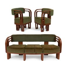 Art Deco sofa and chairs, pair 72''w x 25''d x 29.5''h, : Lot 701