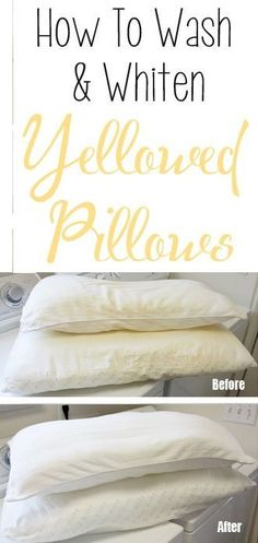 I cannot believe how well this worked! How to wash and whiten yellowed pillows. If you have older pillows that have seen better days, you won't want to miss this! Learn the simple process for washing and whitening those yellow pillows. House Cleaning Tips, Spring Cleaning, Cleaning Hacks, Cleaning Recipes, Cleaning Routines, Cleaning Crew, Deep Cleaning, Cleaning Supplies, Fee Du Logis