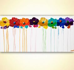 Abstract flowers on white canvas contemporary painting - brings texture, color and vibrancy to your wall. Title: Colors of the Wind Size: 48x24 x 1.5 Medium: Acrylic on stretched canvas Colors: Colorful Style: Abstract Modern Contemporary Abstract floral painting This artwork is
