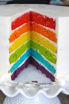 the little epicurean: Rainbow Cake - I know someone who made this - it took them days.....but it was beautiful!