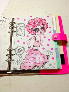 My filofax...2nd month of drawing one doll each day! so much fun!