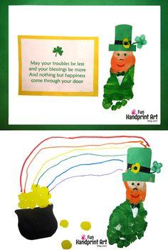 St Patrick's Day Kids Craft Footprint Leprechaun