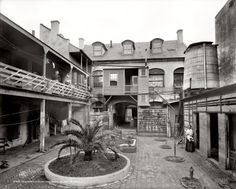"""Old French courtyard on Royal Street,"" circa 1906."