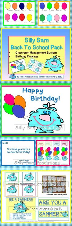 Silly Sam Back To School Pack Classroom Management System & Birthday Package Teacher Birthday Card, Teacher Cards, Card Birthday, Instructional Planning, Behavior System, School Pack, Classroom Fun, Classroom Birthday, Birthday Packages