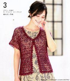 1 (606x700, 315Kb) Crochet Coat, Crochet Mittens, Crochet Shirt, Crochet Jacket, Crochet Clothes, Summer Patterns, Summer Tops, Spring Summer, Beautiful Crochet