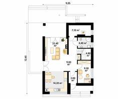 Amarant niewielki dom parterowy z poddaszem - Jesteśmy AUTOREM - DOMY w Stylu One Story Homes, Small One, First Story, Story House, The Expanse, House Plans, Floor Plans, How To Plan, House Styles