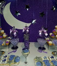 Moon and stars using the stars in the back 2wans partay treats in shades of purple for a twinkle twinkle little star themed baby shower altavistaventures