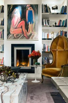 This living space by David Hicks uses bold colours, mixing antique and modern furnishings, and contemporary art. David Hicks, Contemporary Interior Design, Contemporary Art, Modern Art, Ideas Para Organizar, Lounge, Interior Design Inspiration, Furniture Inspiration, Decoration