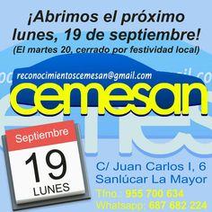 https://www.facebook.com/reconocimientoscemesan/photos/a.363786777150377.1073741832.363576277171427/521562128039507 ¡ABRIMOS EL PRÓXIMO LUNES, DÍA 19! (El martes cerramos por fiesta local) ¡Os esperamos!  CEMESAN – Certificados Médicos facebook.com/reconocimientoscemesan C/ Juan Carlos I, 6, Sanlúcar La Mayor Tfno.: 955 700 634 – Whatsapp: 687 682 224  Promocionado por Globalum. Marketing en Redes Sociales facebook.com/globalumspain