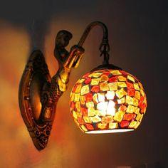 Vintage mermaid mozaïek slaapkamer wandlamp gebrandschilderde bar licht balkon/badkamer led spiegel licht indoor lichtpunt 220 v(China (Mainland))