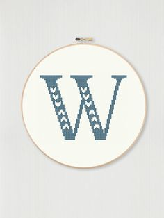 This counted cross stitch pattern allows you to create your own embroidered monogram with your choice of fabric and thread color. Hand Embroidery Projects, Wool Embroidery, Cross Stitch Embroidery, Cross Stitch Letters, Cross Stitch For Kids, Letters For Kids, String Crafts, Letter W, Counted Cross Stitch Patterns
